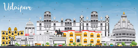 Udaipur Skyline with Color Buildings and Blue Sky. Vector Illustration. Business Travel and Tourism Concept with Historic Architecture. Image for Presentation Banner Placard and Web Site.