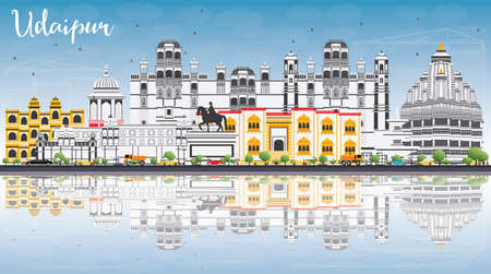 Udaipur Skyline with Color Buildings, Blue Sky and Reflections. Vector Illustration. Business Travel and Tourism Concept with Historic Architecture. Image for Presentation Banner Placard and Web Site.