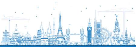 Overzicht beroemde bezienswaardigheden in Europa. Vector illustratie. Zakelijk reis- en toerismeconcept. Afbeelding voor presentatie, banner, plakkaat en website