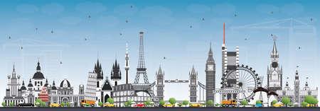 유럽의 유명한 랜드 마크. 벡터 일러스트 레이 션. 비즈니스 여행 및 관광 개념입니다. 프레젠테이션, 배너, 플래 카드 및 웹 사이트 용 이미지