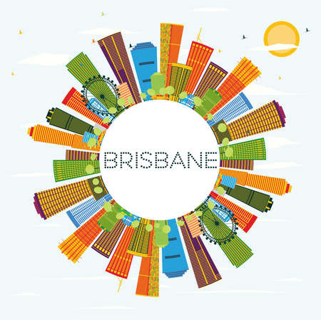 Brisbane Skyline with Color Buildings, Blue Sky and Copy Space. Vector Illustration. Business Travel and Tourism Concept with Modern Architecture. Image for Presentation Banner Placard and Web Site. Illustration