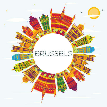 Brussels Skyline with Color Buildings, Blue Sky and Copy Space. Vector Illustration. Business Travel and Tourism Concept with Historic Architecture. Image for Presentation Banner Placard and Web Site. Иллюстрация