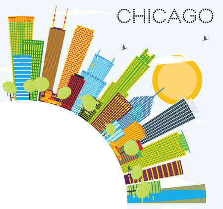 Chicago Skyline with Color Buildings and Copy Space. Vector Illustration. Business Travel and Tourism Concept with Modern Architecture. Image for Presentation Banner Placard and Web Site.