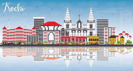 Kochi Skyline with Color Buildings, Blue Sky and Reflections. Vector Illustration. Business Travel and Tourism Concept with Historic Architecture. Image for Presentation Banner Placard and Web Site.