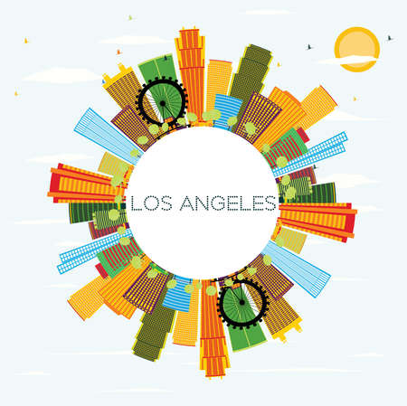 Los Angeles Skyline with Color Buildings, Blue Sky and Copy Space. Vector Illustration. Business Travel and Tourism Concept with Modern Architecture. Image for Presentation Banner Placard and Web Site.