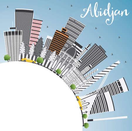 Abidjan Skyline with Gray Buildings, Blue Sky and Copy Space.