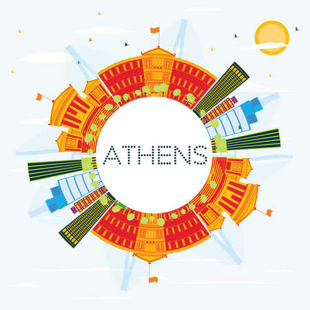 Athens Skyline with Color Buildings, Blue Sky and Copy Space. Vector Illustration. Business Travel and Tourism Concept. Image for Presentation Banner Placard and Web Site.