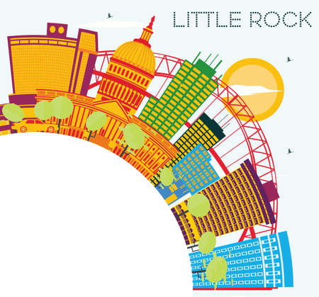 Little Rock Skyline with Color Buildings, Blue Sky and Copy Space. Vector Illustration. Business Travel and Tourism Concept. Image for Presentation Banner Placard and Web Site. Illustration
