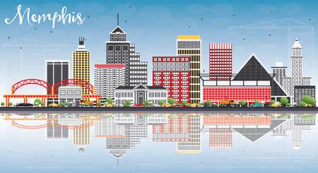 色の建物、青空の反射とメンフィス スカイライン。ベクトルの図。ビジネス旅行や歴史的建造物を観光概念です。プレゼンテーション バナー プラ