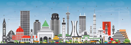 Famous Landmarks in Africa. Vector Illustration. Business Travel and Tourism Concept. Image for Presentation, Banner, Placard and Web Site