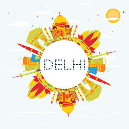 Delhi Skyline with Color Buildings, Blue Sky and Copy Space. Vector Illustration. Business Travel and Tourism Concept with Historic Architecture. Image for Presentation, Banner, Placard. 向量圖像