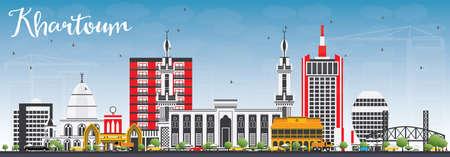 Skyline van Khartoem met grijze gebouwen en blauwe lucht. Vector illustratie. Bedrijfsreis en toerismeconcept met historische architectuur. Afbeelding voor presentatie Banner Aanplakbiljet en website