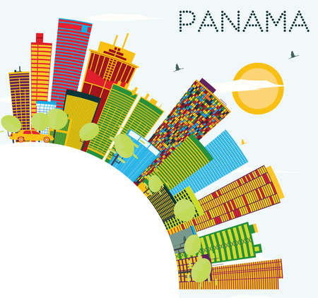 Panama Skyline with Color Buildings, Blue Sky and Copy Space. Vector Illustration. Business Travel and Tourism Concept. Image for Presentation Banner Placard and Web Site.