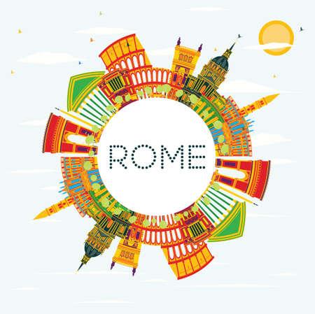 색상 건물, 푸른 하늘 및 복사 공간 로마 스카이 라인. 벡터 일러스트 레이 션. 비즈니스 여행 및 역사적인 건축과 관광 개념입니다. 프리젠 테이션 배 일러스트