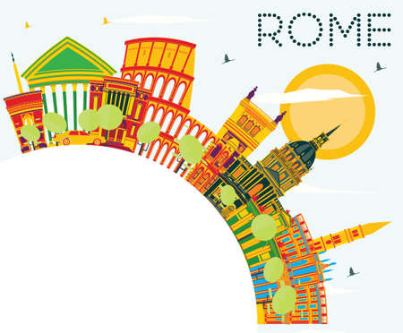 Rome Skyline with Color Buildings, Blue Sky and Copy Space. Vector Illustration. Business Travel and Tourism Concept with Historic Architecture. Image for Presentation Banner Placard