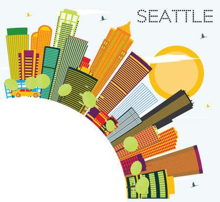 色の建物やコピー スペースとシアトルのスカイライン。ベクトルの図。ビジネス旅行と観光コンセプト モダンな建築。プレゼンテーション バナー