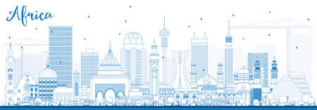 Outline Africa Skyline with Famous Landmarks vector illustration. Business Travel and Tourism Concept for image for presentation, banner, placard and website.