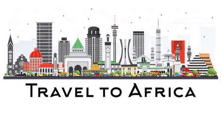 有名なランドマークのベクトル図とアフリカのスカイライン。プレゼンテーション、バナー、プラカード、ウェブサイトのビジネス旅行や観光概念