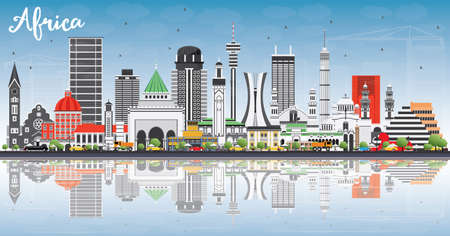 Africa Skyline with Famous Landmarks and Reflections vector Illustration. Business Travel and Tourism Concept omage for presentation, banner, placard and website.