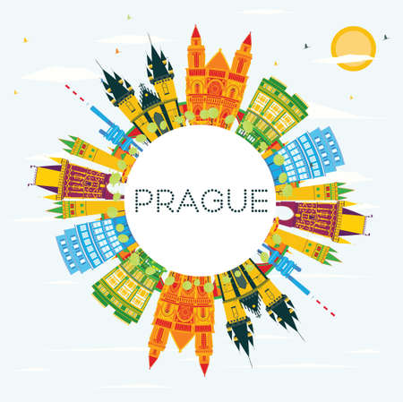 Prague Skyline with Color Buildings, Blue Sky and Copy Space. Vector Illustration. Business Travel and Tourism Concept with Historic Architecture. Image for Presentation Banner Placard and Web.