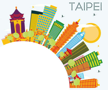 Taipei Skyline with Color Buildings, Blue Sky and Copy Space. Vector Illustration. Business Travel and Tourism Concept. Image for Presentation Banner Placard and Web Site. Illustration