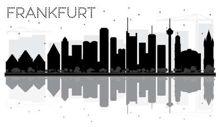 Frankfurt City skyline black and white silhouette with reflections. Vector illustration. Cityscape with landmarks