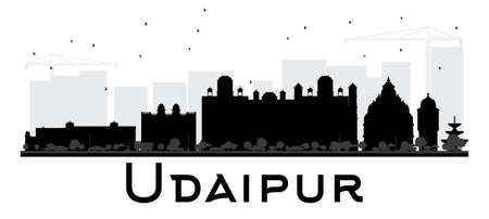 Udaipur City skyline black and white silhouette. Vector illustration. Simple flat concept for tourism presentation, banner, placard or web site. Cityscape with landmarks. Stock Vector - 81955276