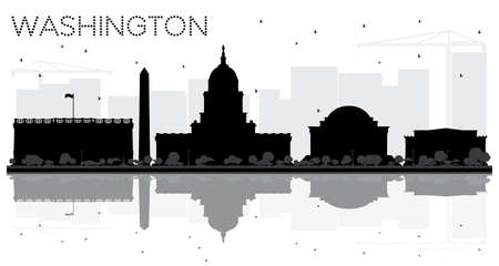 Washington DC City skyline black and white silhouette with reflections. Vector illustration. Cityscape with landmarks