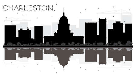virginia: Charleston City skyline black and white silhouette with reflections. Vector illustration. Cityscape with landmarks. Illustration