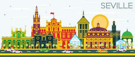 セビリア スカイライン色の建物と青い空。ベクトルの図。ビジネス旅行と観光概念の歴史的建造物。プレゼンテーション バナー プラカードと Web サ  イラスト・ベクター素材