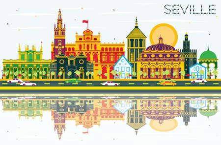 色の建物、青空の反射とセビリアのスカイライン。ベクトルの図。ビジネス旅行と観光概念の歴史的建造物。プレゼンテーション バナー プラカード