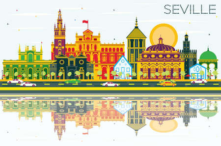Seville Skyline with Color Buildings, Blue Sky and Reflections. Vector Illustration. Business Travel and Tourism Concept with Historic Buildings. Image for Presentation Banner Placard and Web Site.