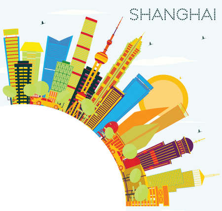 Shanghai Skyline with Color Buildings, Blue Sky and Copy Space. Vector Illustration. Business Travel and Tourism Concept with Modern Architecture. Image for Presentation Banner Placard and Web Site.