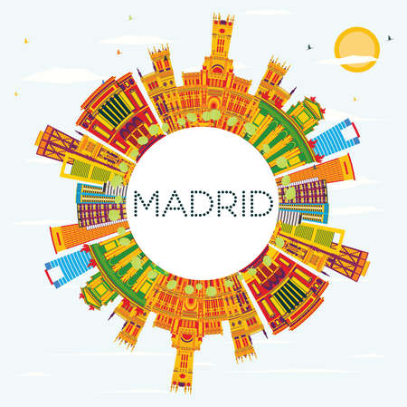Madrid Skyline with Color Buildings, Blue Sky and Copy Space. Vector Illustration. Business Travel and Tourism Concept with Historic Architecture. Image for Presentation Banner Placard and Web Site. 일러스트