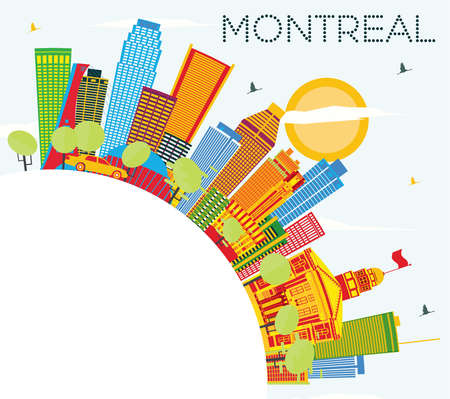 montreal: Montreal Skyline with Color Buildings, Blue Sky and Copy Space. Vector Illustration. Business Travel and Tourism Concept with Historic Architecture. Image for Presentation Banner Placard and Web Site.