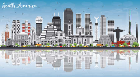 South America Skyline with Famous Landmarks and Reflections. Vector Illustration. Business Travel and Tourism Concept. Image for Presentation, Banner, Placard and Web Site.