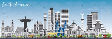 South America Skyline with Famous Landmarks. Vector Illustration. Business Travel and Tourism Concept. Image for Presentation, Banner, Placard and Web Site.
