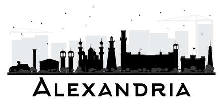 Alexandria City skyline black and white silhouette. Vector illustration. Simple flat concept for tourism presentation, banner, placard or web site. Business travel concept. Cityscape with landmarks Illustration
