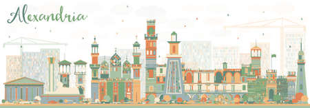 Abstract Alexandria Skyline with Color Buildings. Vector Illustration. Business Travel and Tourism Concept with Historic Architecture. Image for Presentation Banner Placard and Web Site