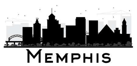 Memphis City Skyline Schwarz-Weiß-Silhouette. Vektor-Illustration. Einfache flache Konzept für touristische Präsentation, Banner, Plakate oder Website. Geschäftsreisekonzept. Stadtbild mit Wahrzeichen Standard-Bild - 82075108