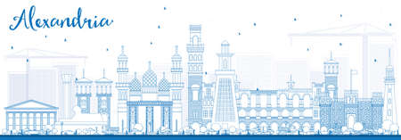 Outline Alexandria Skyline with Blue Buildings. Vector Illustration. Business Travel and Tourism Concept with Historic Architecture. Image for Presentation Banner Placard and Web Site Illustration