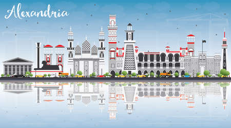 Alexandria Skyline with Gray Buildings, Blue Sky and Reflections. Vector Illustration. Business Travel and Tourism Concept with Historic Architecture. Image for Presentation Banner Placard and Web Site