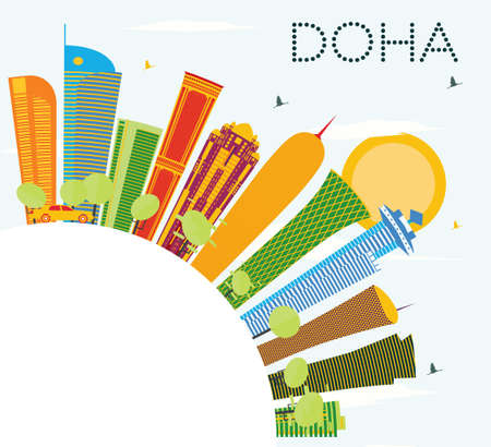 Doha Skyline with Color Buildings, Blue Sky and Copy Space. Vector Illustration. Business Travel and Tourism Concept. Image for Presentation Banner Placard and Web Site. Illustration