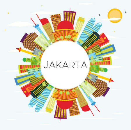 Jakarta Skyline with Color Buildings, Blue Sky and Copy Space. Vector Illustration. Business Travel and Tourism Concept with Modern Buildings. Image for Presentation and Banner.