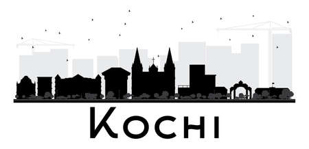 Kochi City skyline black and white silhouette. Vector illustration. Simple flat concept for tourism presentation, banner, placard or web site. Cityscape with landmarks. Illustration