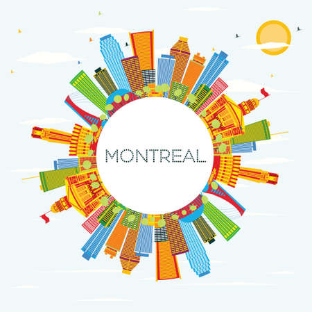 Montreal Skyline with Color Buildings, Blue Sky and Copy Space. Vector Illustration. Business Travel and Tourism Concept with Historic Architecture. Image for Presentation Banner Placard and Web Site.