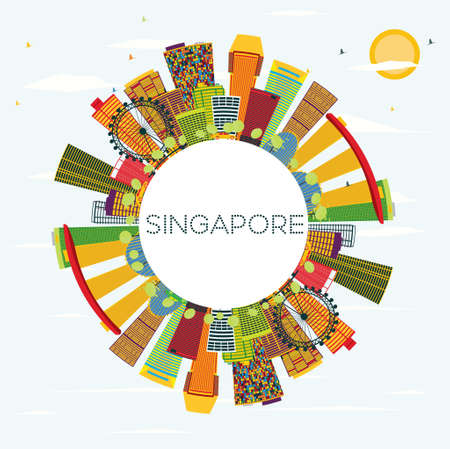 Singapore Skyline with Color Buildings, Blue Sky and Copy Space. Vector Illustration. Business Travel and Tourism Concept. Image for Presentation Banner Placard and Web Site. Çizim
