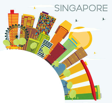 Singapore Skyline with Color Buildings, Blue Sky and Copy Space. Vector Illustration. Business Travel and Tourism Concept. Image for Presentation Banner Placard and Web Site. Illustration
