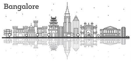 Outline Bangalore Skyline with Historic Buildings and Reflections. Vector Illustration. Illusztráció