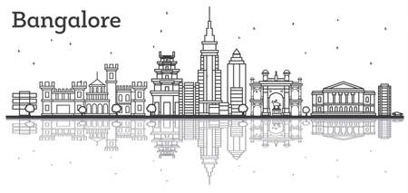 Outline Bangalore Skyline with Historic Buildings and Reflections. Vector Illustration. Illustration